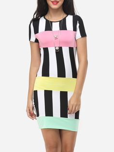 Crew Neck Dacron Color Block Bodycon Dress