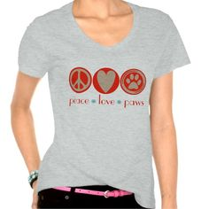"""Peace Love Paws T-shirt. Custom """"peace, love, paw print"""" design, with a peace sign, a heart and a paw print in round icons. Fun t-shirt for animal lovers, makes a perfect gift for pet owners and dog and cat lovers - especially for those committed to rescuing dogs and cats."""