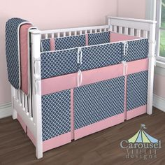 Navy Quatrefoil, Solid Coral Pink, Solid Antique White, Watermelon Minky. Baby Girl Crib Bedding Created using the Nursery Designer® by Carousel Designs where you mix and match from hundreds of fabrics to create your own unique baby bedding.