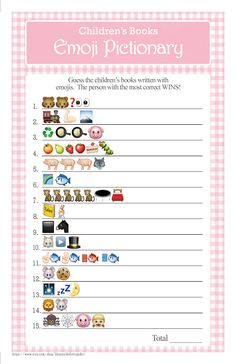 childrens books emoji pictionary baby shower game vintage theme with pink gingham answers included instant download diy printable 39ba