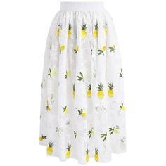 Chicwish Pineapple Enchantment Embroidered Mesh Midi Skirt in White ($45) ❤ liked on Polyvore featuring skirts, white, mesh skirt, chicwish skirt, mesh midi skirt, white mesh skirt and midi skirt