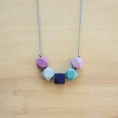 Geometric Bead Silicone Teething Necklace by FinityHandmade