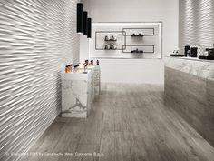 3D Design Pared por Atlas Concorde: superficies cerámicas tridimensionales