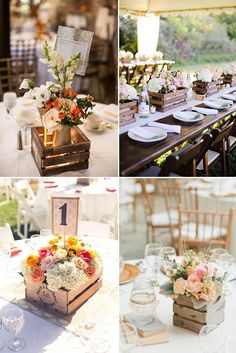 fill wooden crates with flowers for a pretty centerpiece! http://weddingwonderland.it/2014/11/cassette-di-legno.html