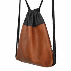 Natural leather backpack, 32 x 39 cm, brown, black #backpack #brown #plecak #worek