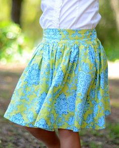 flat fronted twirly skirt elasticated back tutorial