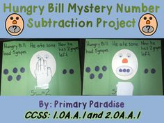 Hungry Bill: Idea for CCSS.Math. Content.1.OA.A.1 Use addition and subtraction within 20 to solve word problems involving situations of adding to, taking from, putting together, taking apart, and comparing, with unknowns in all positions, e.g., by using objects, drawings, and equations with a symbol for the unknown number to represent the problem. Includes directions for making.