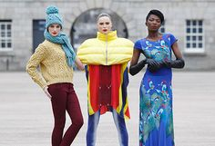 Karen Fitzpatrick is pictured wearing Knitwear by Gonne Wilde with Sarah Morrissey is wearing a Helen Steele Duvet jacket and hand printed leggings and t-shirt and L'Or Mayo wearing a J Rothwell printed dress, showcasing the best of Showcase Fashion Irish Fashion, Printed Leggings, Knitwear, Fashion Jewelry, Winter Jackets, Womens Fashion, Duvet, Prints, T Shirt