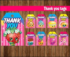 Shopkins Thank You tags Printable gift tags by GiseleMPrint
