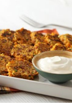"Stuffing-Sweet Potato ""Latkes"" -- For a new take on latkes, skillet-cook a mixture of shredded sweet potatoes and savory stuffing mix to golden brown perfection and serve with sour cream."