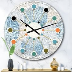 East Urban Home Oversized Abstract VII Mid-Century Wall Clock Size: Large Retro Design, Design Art, Blue Design, Atomic Wall Clock, Coral Walls, Farmhouse Wall Clocks, Light Reflection, Iron Wall, At Least