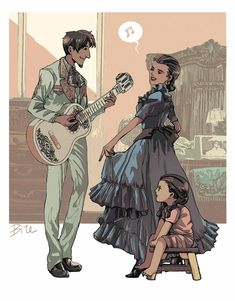 Hector, Imelda, and Coco—Pixar's Coco; credit to the artist
