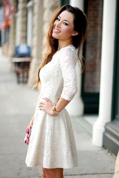 cream Bebe dress- cute and feminine