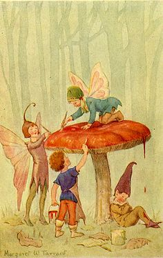 Woodland Fairies by Margaret Winifred Tarrant (1888-1959) English illustrator specializing in depictions of fairy-like children and religious subjects. She began her career at the age of 20, and painted and published into the early 1950s. She was known for her children's books, postcards, calendars, and print reproductions.