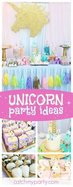 Don't miss this magical Unicorn baby Shower. The unicorn cake and cookies are fantastic!! See more party ideas and share yours at CatchMyParty.com