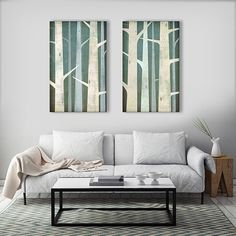 BIRCHES Birch Trees Diptych Stretched Canvas Wall by nativevermont