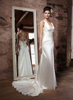 Прямое простое современное греческое свадебное платье (WDAA0002137)