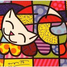 Quadro Romero Britto-Happy Cat - MK Mania Presentes Criativos