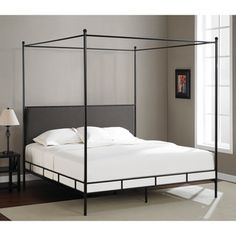 @Overstock.com - Lauren Grey King-size Metal Canopy Bed - This lovely canopy bed has a modern look with a minimal frame design and a neutral black and grey palette. This king-size bed has a headboard upholstered in soft microfiber with a foam interior.   http://www.overstock.com/Home-Garden/Lauren-Grey-King-size-Metal-Canopy-Bed/8353746/product.html?CID=214117 $369.99
