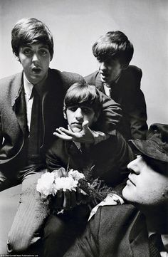 The Beatles portrait, which shows the smartly-dressed foursome together after a gig, was commissioned by Diana Vreeland and taken by young British Vogue staff photographer Peter Laurie in 1964