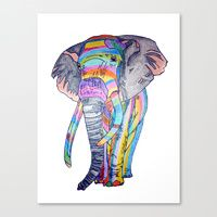Canvas Print featuring RAINBOWPHANT - colour pencil by Heaven7
