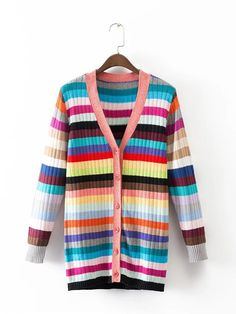 Autumn Witner New Rstriped V-neck knitting women Sweater Jacket Coat