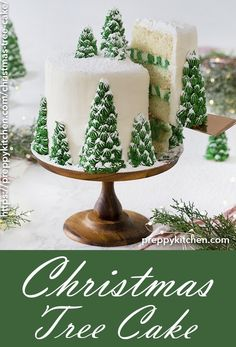 A scrumptious vanilla cake with creamy, dreamy vanilla buttercream. Topped with stunning, edible Christmas bushes, this cake is it's personal winter wonderland. through Preppy Kitchen - Finest Cake Recipes, Desserts and Savory Recipes On Christmas Tree Cake, Christmas Sweets, Christmas Cooking, Noel Christmas, Christmas Goodies, Christmas Kitchen, Chrismas Cake, Christmas Cake Decorations, Christmas Island