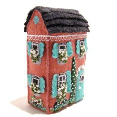 embroidered felt little houses | Pink Soap Box House Mimiature Hand Embroidered by TwoLeftHands