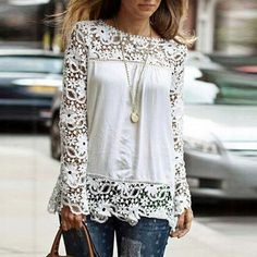 hairpin lace top | Fashion Tops For Women Sheer Sleeve Embroidery Lace Patterns Crochet ...