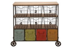 Iron Storage Cart w/ Numbered Bins on OneKingsLane.com