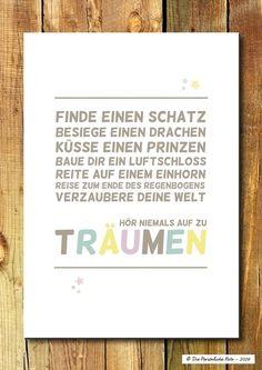 Druck/Wandbild: Träume - Kinderzimmerdeko von Die Persönliche Note auf DaWanda.com