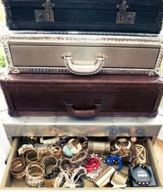 sweet repurpose of suitcases as drawers