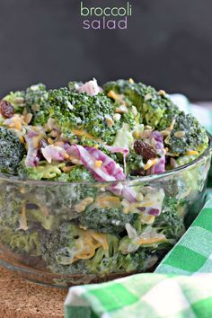 BROCCOLI SALAD  ~  1 lb. broccoli florets, in bite-size pieces...1/3 c. red onion, cut in strips...1 c. shredded cheddar cheese...1/2 lb bacon, cooked and crumbled...1/2 c. raisins (or dried cranberries)...1/3 c. sunflower seeds (no shells)...1 c. mayo...2 T. cider vinegar...1/4 c. granulated sugar   -   the perfect summer side dish!
