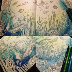 """Kourtney Ferro op Instagram: """"Background completed ✔️ love that transition! #sunreflection #effects #instagraminspiration #lostocean #lostoceancolouringbook #fabercastellpolychromos #polychromos #colouringbook #adultcoloring @johannabasford @fabercastellglobal @fabercastellusa"""""""