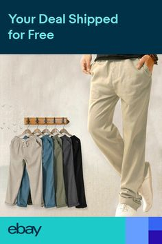 NEW MENS CASUAL LOOSE DRAWSTRING WAIST SOLID LINEN TROUSERS BEACH PANTS  COMFY b193095626