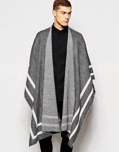 ASOS Cape In Gray with Stripe