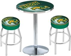 North Dakota State Bison Green D2 Chrome Pub Table Set. Available in two table widths.   Visit SportsFansPlus.com for Details.