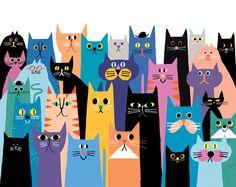 robhodgson:Rob Hodgson Cat Squad (The Zoo Keeper) Easy Canvas Art, Cat Quilt, Cat Wallpaper, Cat Colors, Cat Drawing, Crazy Cats, Cat Art, Illustration Art, Character Design