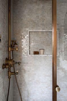 Bathroom Inspo, Bathroom Inspiration, Bathroom Renos, Master Bathroom, Master Shower Tile, Gold Bathroom, Washroom, White Tile Backsplash, 1920s House