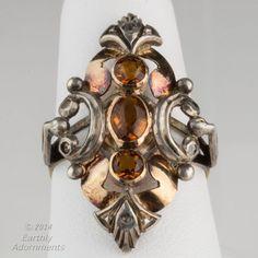rgvc110-19th century tri color gold and citrine English ladies ring.