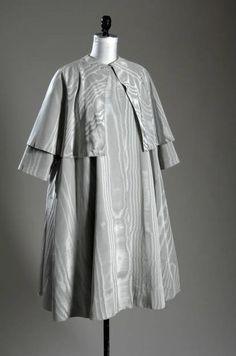 Evening Coat, Cristobal Balenciaga (1895-1972), Paris, France: ca. 1950, silk moiré.   ,