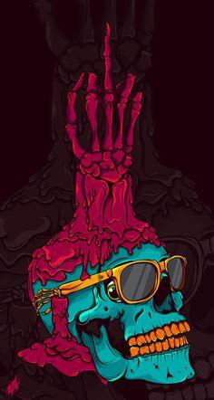 Trick or treat on behance n skull art, skull y art. Skull Wallpaper, Cool Wallpaper, Art Pop, Psychedelic Art, Graffiti Art, Psy Art, Dope Art, Skull And Bones, Skeleton Bones