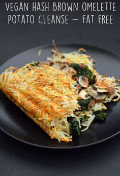 Vegan Hash Brown Omelette- 6 Vegan Gourmet Potato Cleanse Recipes (Starch Solution/HCLF) Fat Free, G Veggie Recipes, Whole Food Recipes, Healthy Recipes, Potato Recipes, Fat Free Recipes, Dinner Recipes, Meal Recipes, Vegan Recipes With Potatoes, Cooking Recipes