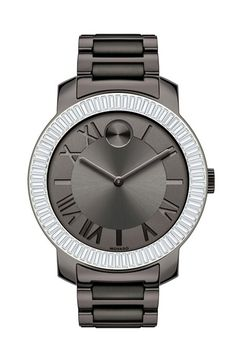 Free shipping and returns on Movado 'Bold' Crystal Bezel Bracelet Watch, 39mm at Nordstrom.com. A ring of dazzling baguette crystals frames the shining sun-ray dial of a classic Movado bracelet watch. A signature Museum dot and etched indexes detail the beautiful look.