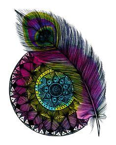 Peacock Feather Mandala Print Aztec Designs Black by WestridgeART