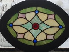 Vintage Oval stained glass window