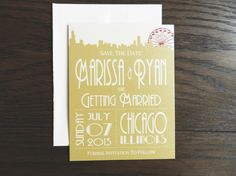 Skyline Wedding Save the Date  Gold and Red with the Ferris Wheel