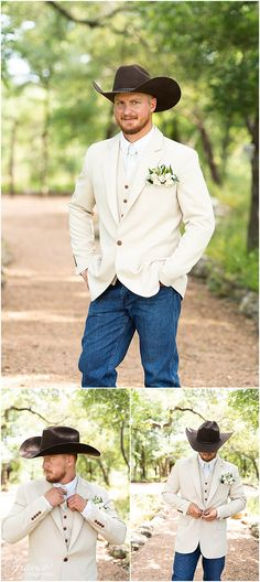 Silo and Oak Wedding Pictures Cowboy Wedding Attire, Country Groom Attire, Country Wedding Groomsmen, Rustic Groomsmen Attire, Rustic Wedding Attire, Jeans Wedding, Cowboy Weddings, Barn Weddings, Country Wedding Outfits