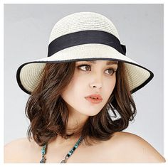 Black and white straw hat for women with bow package sun hats beach wear