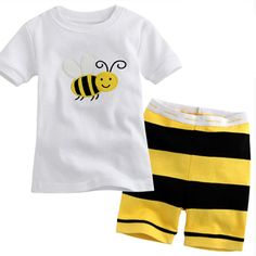 Summer Child Short Pajama Set Cotton Cute Yellow Bee Animal Boy Pyjamas Clothing Children's Clothes Set Kid Sleep Home Wear